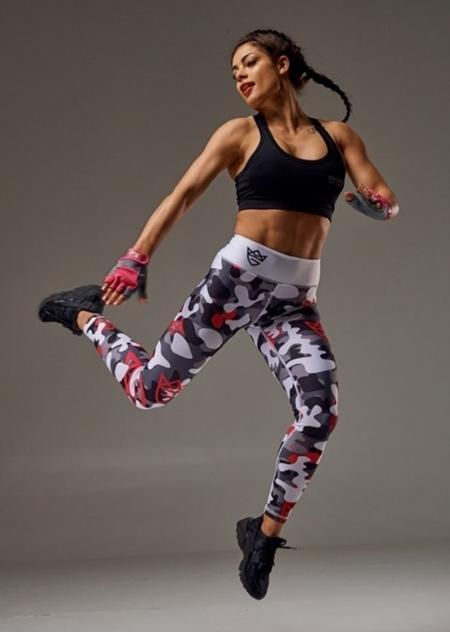 LIVE & FIGHT - WOMEN'S LEGGINGS - CAMO GRAY&WHITE