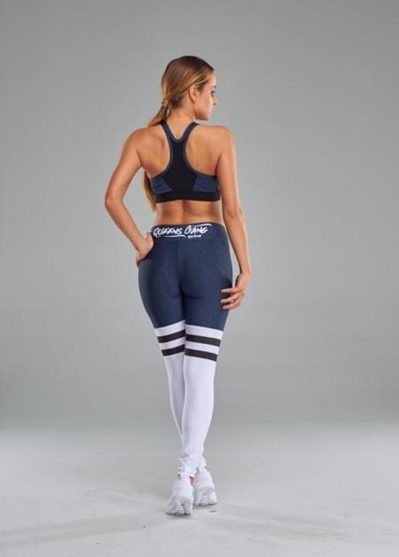LIVE & FIGHT - WOMEN'S LEGGINGS - HIGH SOCK MELANGE Dark Blue&White