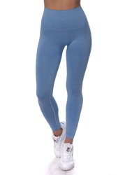STRONG. - LEGGINSY BEZSZWOWE BLUE MELANGE (PUSH UP)