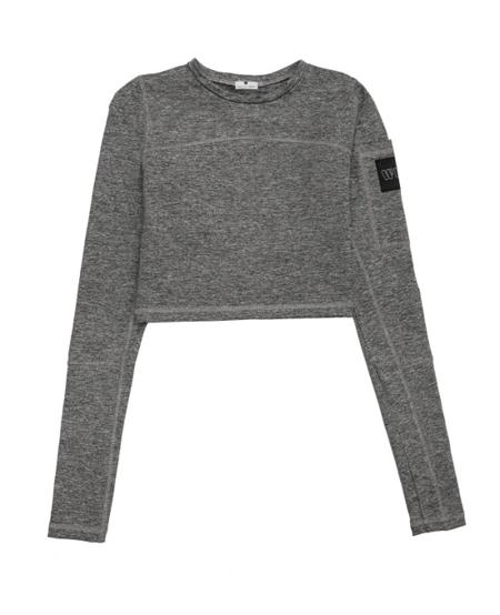 WAKE UP AND SQUAT - Longsleeve Crop Top Gray Basic